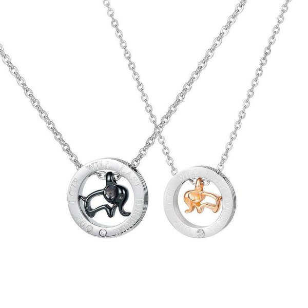 Japanese and Korean Style, Elephant Lovers, Titanium Steel Necklace, Personality Trend, Male and Female Pendant Gb1729