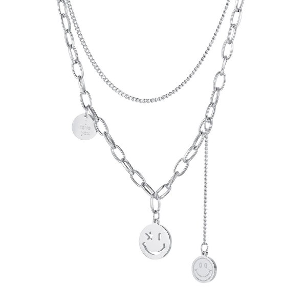 Ins Online Celebrity Chain Smiling Face Titanium Steel Necklace Women's Double-layer Round Brand Personality Jewelry Gb1713