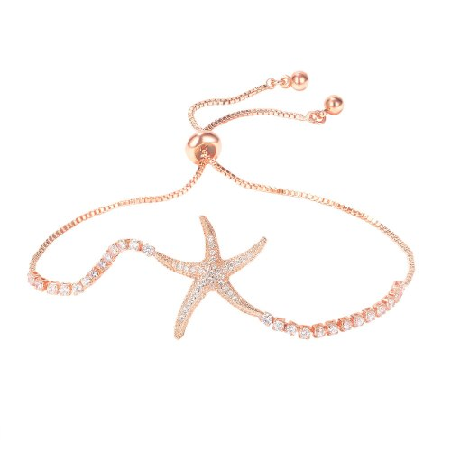 Korean Version Fresh and Sweet Starfish Copper Bracelet Plated Rose Gold All-match Temperament Ins Hand Jewelry Gb1002