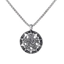 Titanium Steel Retro Five Pointed Star Necklace Male Trend Street Hip Hop Student Pendant Accessories Gb1723