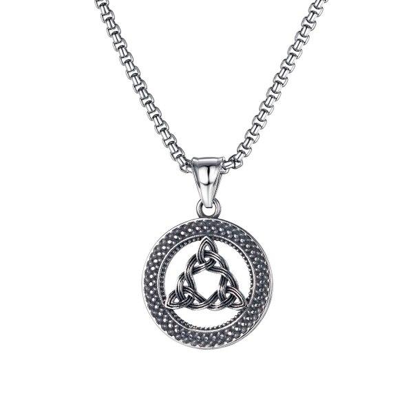 European Creative Personality Round Triangle Hollow Pendant Hip-hop Punk Style Titanium Steel Men's Necklace Gb1808