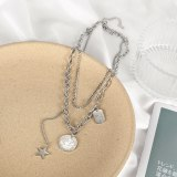 Korean Multi-layer Titanium Steel Chain Queen Disc Necklace Personality Five Pointed Star Pendant Sweater Chain Female Gb1797
