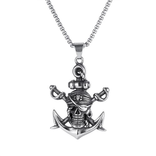 European and American Double Sword Pirate Titanium Steel Necklace Retro Halloween Skeleton Ghost Anchor Necklace Gb1828