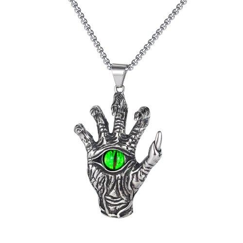 European and American Hip-hop Titanium Steel Devil's Hand Retro Domineering Men's Skeleton Green Eyeball Pendant Gb1829