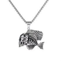 European and American Hip-hop Big Skull Necklace Retro Men Trend Street Clown Fish Titanium Steel Necklace Hanging Gb1827