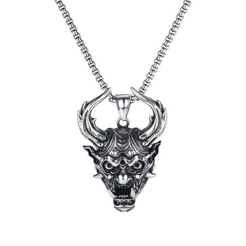 European and American Evil Skull Head Pendant Personality Retro Dragon Long Horn Monster Men's Titanium Steel Pendant Gb1826