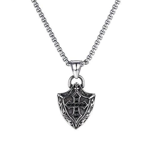 European and American Retro Versatile Shield Cross Titanium Steel Necklace for Men Gb1807