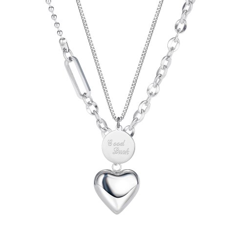 European Light Small Fragrance Peach Heart Titanium Steel Necklace Trend Good Luck Double Layer Sweater Chain Female GB1806