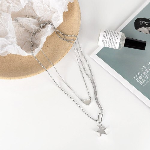 Ins Personality Heart-shaped Five Pointed Star Clavicle Chain Trend Love Choker Double Titanium Steel Necklace GB1805