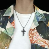 European Religious Jewelry Men's Titanium Steel Winding Snake Cross Necklace Fashion Aggressive New Wholesale Gb1818