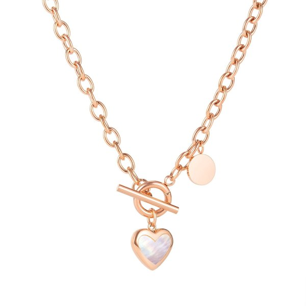 Korean Version of INS Simple and Versatile Love Disc Clavicle Chain Autumn Winter Titanium Steel Necklace Female Gb1795