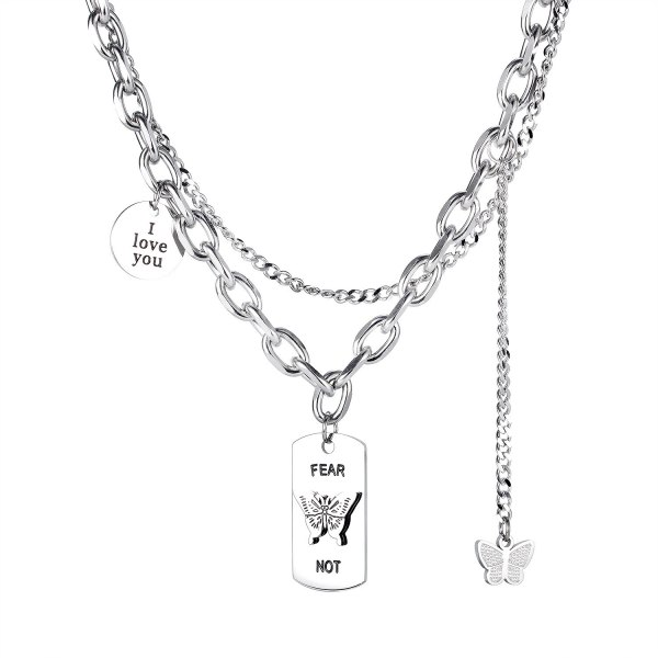 Fashionable Butterfly Neck Chain Japanese and Korean Retro Double-deck Necklace  Sweater Chain Gb1804