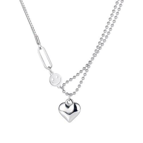 Korean Classic Versatile Smiling Face Love Lady Titanium Steel Necklace Temperament Neck Chain Accessories GB1801