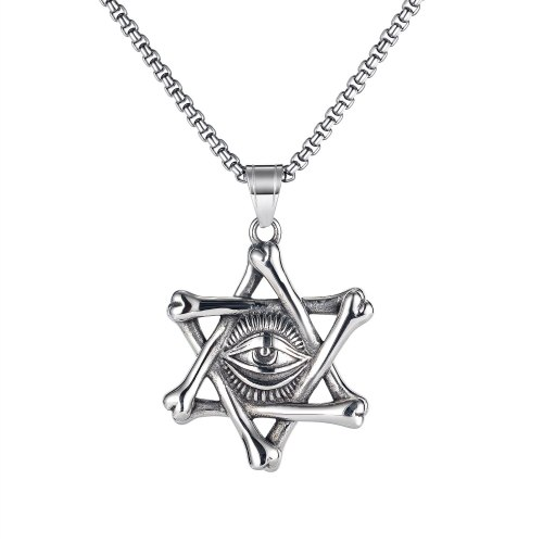 Europe Fashion Retro Six-man Star Magic Eye Necklace Personality Hip-hop Wind Sweater Chain Accessories Gb1830