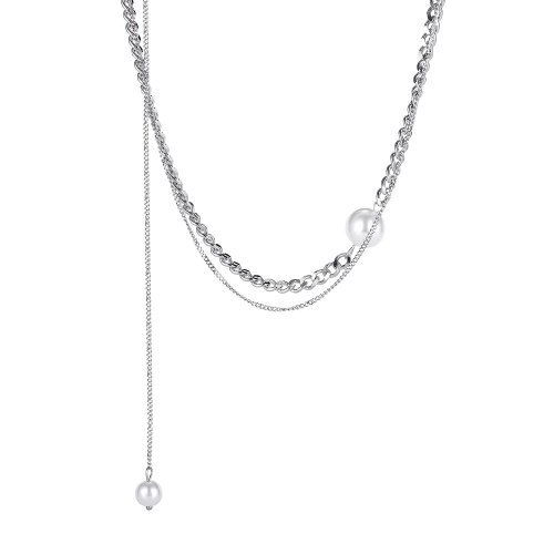 Han Version Double-layer Titanium Diamond Necklace Women Fashion 100 Collarbone Chain Gb1800