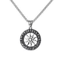 European and American Retro Circle Sun Flower Titanium Steel Men's Necklace Lettering Pendant Jewelry Gb1814