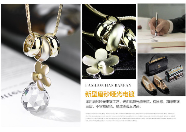 South Korean fashion accessories sweater chain new Daisy alloy gold pendant with crystal ball long necklace for women