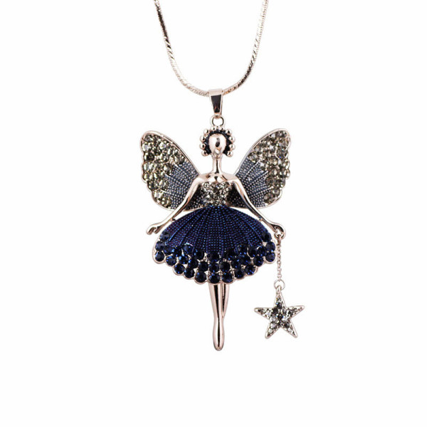 Korean new cute angel wings little girl star fashion accessories pendant sweater chain Long Necklace 10214