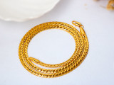 5.5mm*510 Foreign trade European and American Jewelry 50cm full side 18K Necklace men's boss chain snake bone flat chain