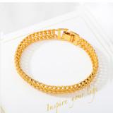 8.2mm*190mm Centipede Bracelet Vietnamese sand gold bracelet men and women simulation gold plated bracelet Euro tank flat whip
