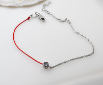 New creative titanium steel red rope Anklet knitting rose gold women's single diamond versatile simple chain girl red rope