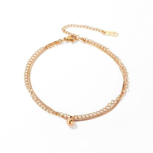 Japanese and Korean Fashion Bead Titanium Steel Anklet Women's Versatile Fresh Rose Plated Gold Summer Jewelry GB101