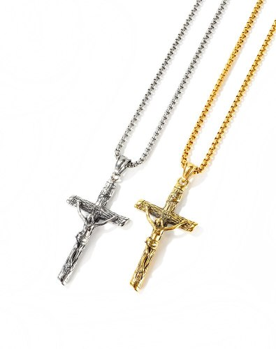 European Style Stainless Steel Cross Jesus Pendant Fashion Men's Titanium Steel Necklace Religious Jewelry Gb1668