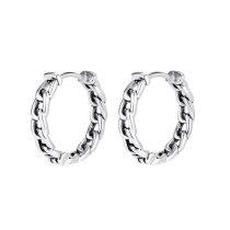 European Style Retro Silver Braided Twist Titanium Steel Earrings Fashion Ins Chain Circle Earrings Gb599