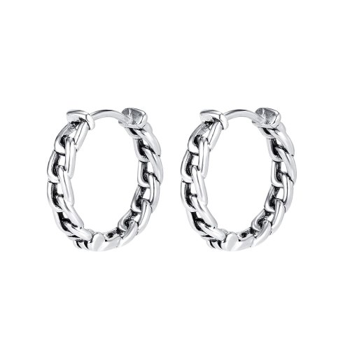 European Style Retro Silver Braided Twist Titanium Steel Earrings Fashion Ins Chain Circle Earrings Gb599