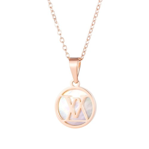 New Fashion Titanium Steel Necklace Female Simple Temperament Letter Mother Shell Clavicle Chain Gb1674