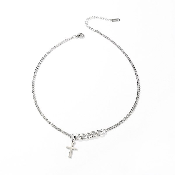 Simple Retro Cross Titanium Steel Necklace Personalized Versatile Chain Pendant Jewelry Gb1694