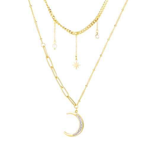 Korean Version Retro Ins Star Moon Titanium Necklace Women Simple 100 Star Crescent Clavicle Chain Gb1697
