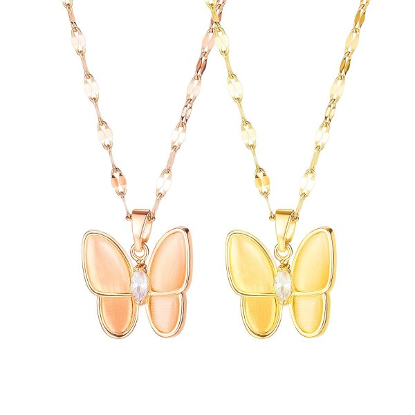 Korean Version of Light Luxury Fashion Crystal Titanium Steel Butterfly Necklace Personality Simple Pendant Jewelry Gb1685