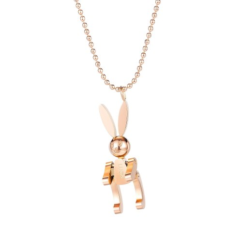 Korean Fashion Girl Luck Big Ear Rabbit Titanium Steel Necklace for Women Simple Clavicle Chain Pendant Gb1680
