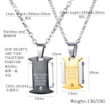 Fashionable Stainless Steel Male and Female Pendant Necklace with Diamond and Titanium Steel Lovers Necklace Gb1689