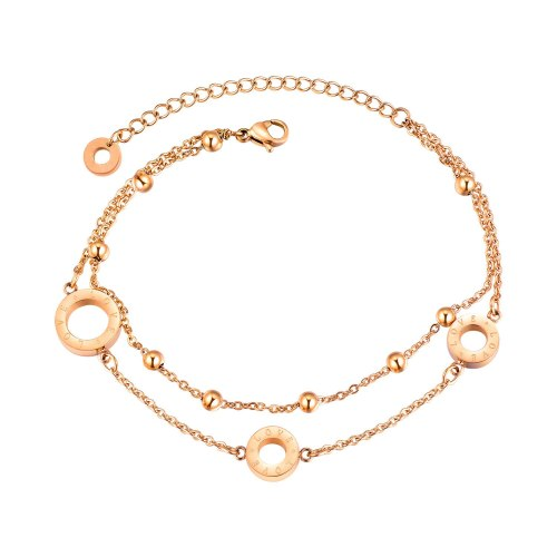 Stylish Double-layered Rose Gold Circle Letter Love Bracelet Feminine Sweet Ball Bead Bracelet Gb846
