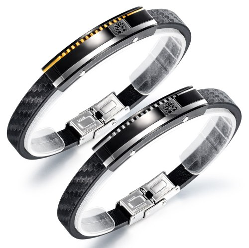 Fashion Simple Men's Titanium Steel Bracelet Retro Punk Style Tree Skin Bracelet Accessories Gb1406