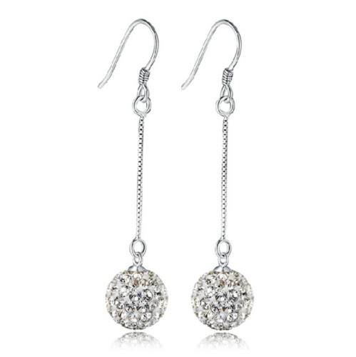 (8mm)Princess Shambhala earrings with silver plated earrings and fashionable tassels with crystal ball earrings 030