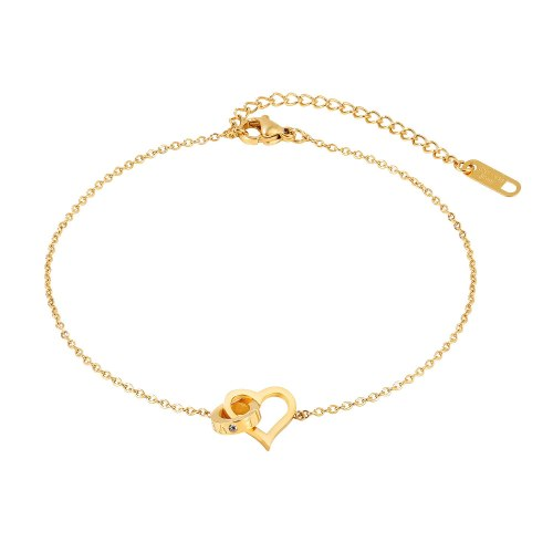New Fashion Small Fresh Love Titanium Steel Anklet Female Simple Wild Ins Wind Heart-shaped Jewelry Gb104