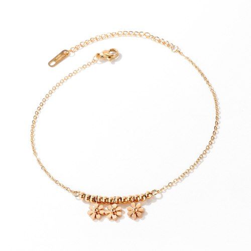 Korean Version of The Small Daisy Titanium Steel Foot Chain Female Ins Simple 100 Set of Summer Foot Jewelry Gb102