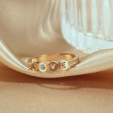 Korean Ring Female Hollow Love Letter Personality Titanium Steel Zircon Opening Adjustable Ring Jewelry Gb697