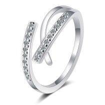 Korean Version Diamond-encrusted Irregular Cross Ring New Ins Open Geometry Ring Tide JZ333