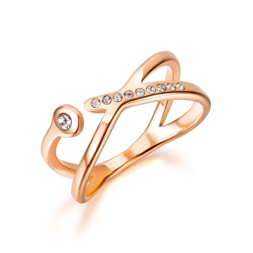 Korean Simple Cross Index Finger Titanium Steel Ring for Women's Fashion Versatile Rose Gold Plated Diamond Ring Gb696