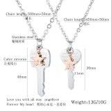 Korean Personality Popular Titanium Steel Key Couple Titanium Steel Necklace Simple Star-encrusted Drill Niche Pendant Gb1688