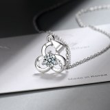 Diamond Necklace Japan and South Korea Simple Fashion Sweet Zircon Clover Element Girl Heart Clavicle Chain Pendant XzDZ533