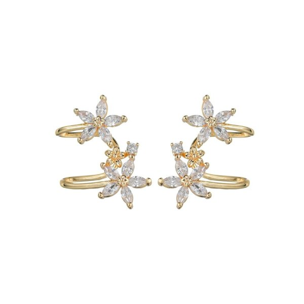 Korean Flower Ear Clip AAA Zircon Inlaid Stud Earrings S925 Pure Silver Ear Pin and Ear Nail Wholesale Qxwe1538