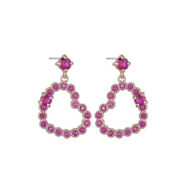 Korean Plate Earrings AAA Zirconium Inlaid Earrings National Wind Love Electroplating Girls Gift QxWE886