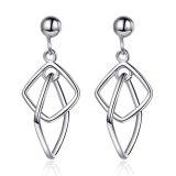 Geometric Hollow Box Stud Splicing Earrings Korea Simple Temperament Versatile Black Gold Stud Earrings Xzed895
