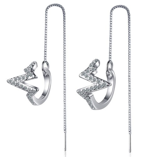 Korea's Long Diamond-encrusted Wave Earrings Two Super Fairy Lightning Earrings Stud Earrings XzEH567