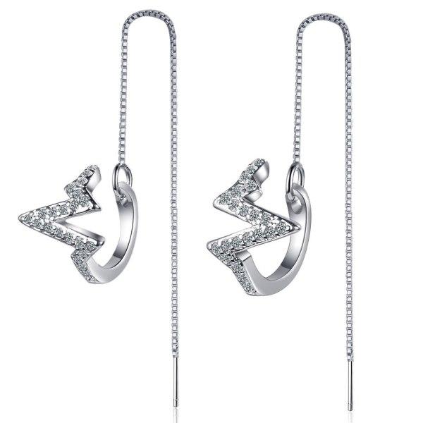 Korea's Long Diamond-encrusted Wave Earrings Two Super Fairy Lightning Earrings Stud Earrings XzEH567